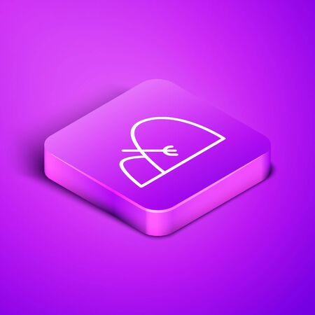 Isometric line Bale of hay and rake icon isolated on purple background. Purple square button. Vector Illustration Ilustrace