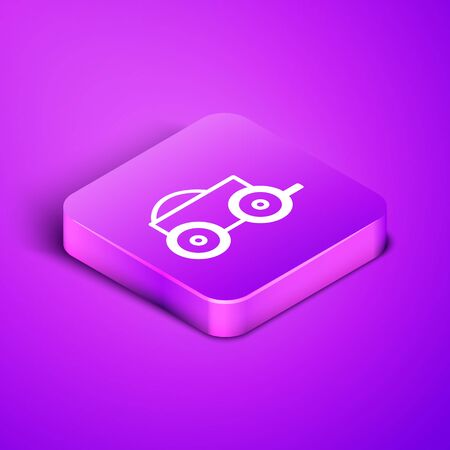 Isometric line Wooden four-wheel cart with hay icon isolated on purple background. Purple square button. Vector Illustration