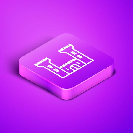 Isometric line Castle icon isolated on purple background. Fortress sign. Purple square button. Vector Illustration