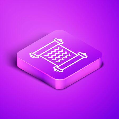 Isometric line Decree, paper, parchment, scroll icon icon isolated on purple background. Purple square button. Vector Illustration Ilustração