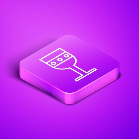 Isometric line Medieval goblet icon isolated on purple background. Purple square button. Vector Illustration