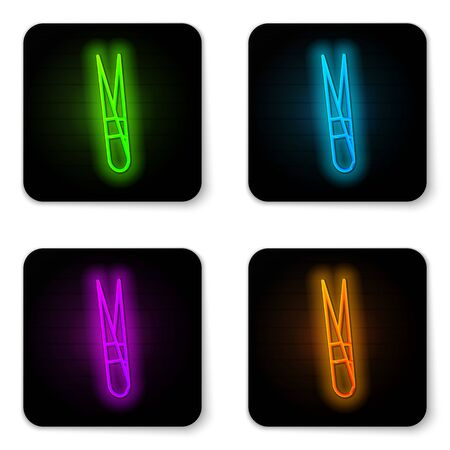 Glowing neon line Eyebrow tweezers icon isolated on white background. Cosmetic tweezers for ingrown hair. Black square button. Vector Illustration