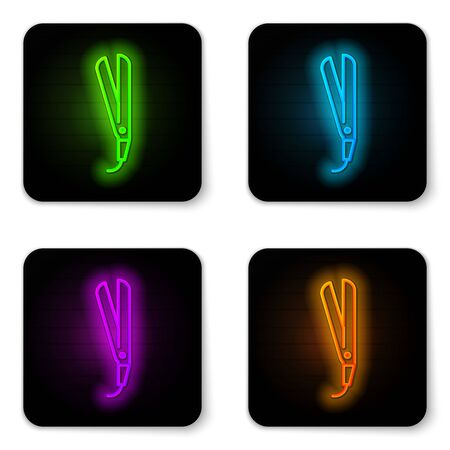 Glowing neon line Curling iron for hair icon isolated on white background. Hair straightener icon. Black square button. Vector Illustration