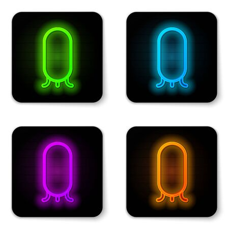 Glowing neon line Big full length mirror for bedroom, shops, backstage icon isolated on white background. Black square button. Vector Illustration