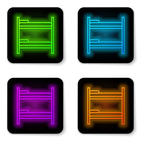 Glowing neon line Bunk bed icon isolated on white background. Black square button. Vector Illustration