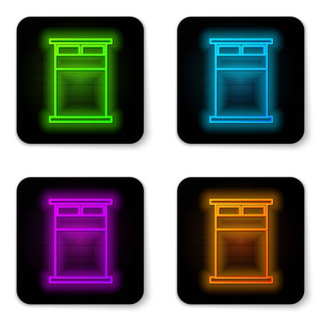 Glowing neon line Big bed for two or one person icon isolated on white background. Black square button. Vector Illustration Ilustrace