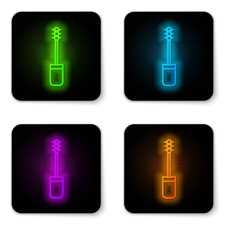 Glowing neon line Mascara brush icon isolated on white background. Black square button. Vector Illustration Vectores