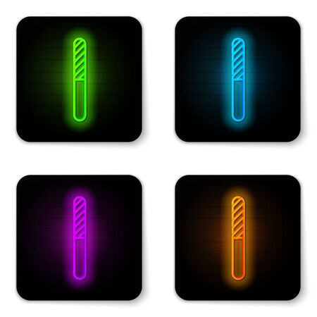 Glowing neon line Nail file icon isolated on white background. Manicure tool. Black square button. Vector Illustration Ilustrace