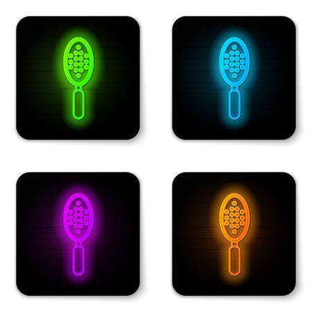 Glowing neon line Hairbrush icon isolated on white background. Comb hair sign. Barber symbol. Black square button. Vector Illustration
