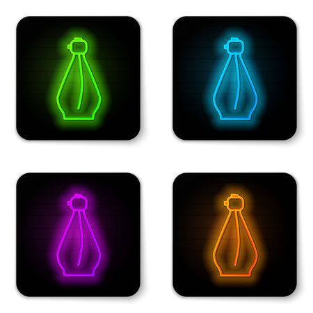 Glowing neon line Perfume icon isolated on white background. Black square button. Vector Illustration