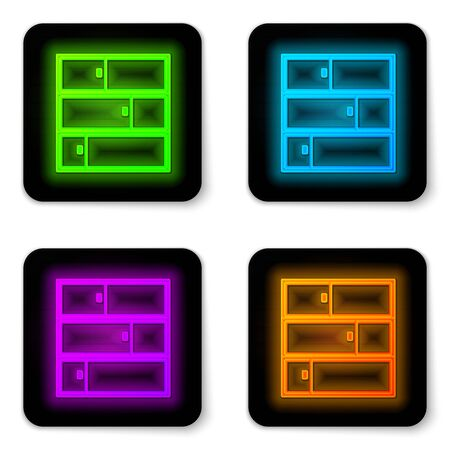 Glowing neon line Shelf icon isolated on white background. Shelves sign. Black square button. Vector Illustration Ilustracja