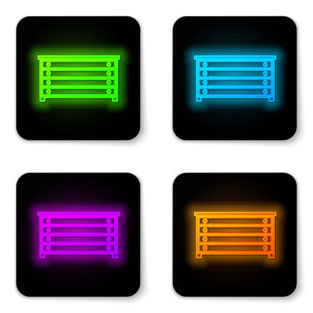 Glowing neon line Chest of drawers icon isolated on white background. Black square button. Vector Illustration