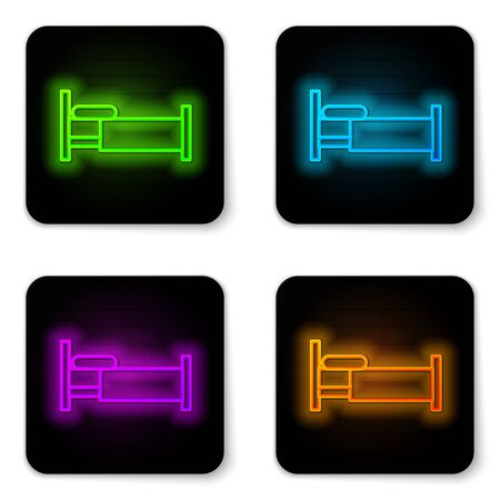 Glowing neon line Bed icon isolated on white background. Black square button. Vector Illustration