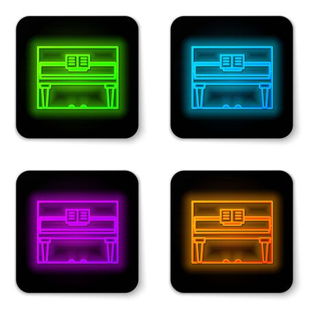 Glowing neon line Grand piano icon isolated on white background. Musical instrument. Black square button. Vector Illustration