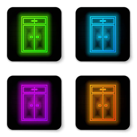 Glowing neon line Wardrobe icon isolated on white background. Black square button. Vector Illustration Ilustrace