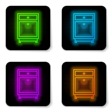Glowing neon line Furniture nightstand icon isolated on white background. Black square button. Vector Illustration