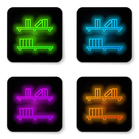 Glowing neon line Shelf with books icon isolated on white background. Shelves sign. Black square button. Vector Illustration Ilustracja