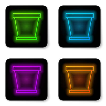 Glowing neon line Flower pot icon isolated on white background. Black square button. Vector Illustration