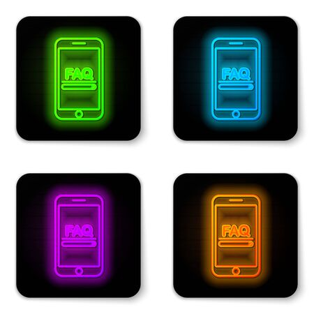 Glowing neon line Mobile phone with text FAQ information icon isolated on white background. Frequently asked questions. Black square button. Vector Illustration