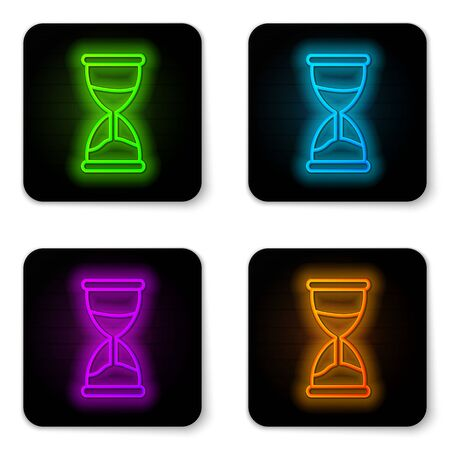Glowing neon line Old hourglass with flowing sand icon isolated on white background. Sand clock sign. Business and time management concept. Black square button. Vector Illustration