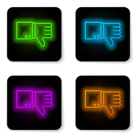 Glowing neon line Dislike icon isolated on white background. Black square button. Vector Illustration