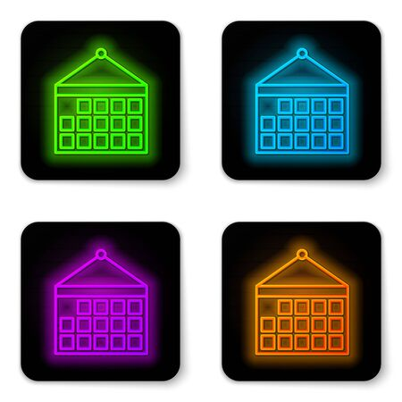 Glowing neon line Calendar icon isolated on white background. Event reminder symbol. Black square button. Vector Illustration