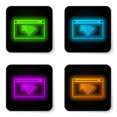 Glowing neon line No Internet connection icon isolated on white background. No wireless wifi or sign for remote internet access. Black square button. Vector Illustration