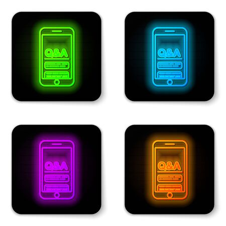 Glowing neon line Mobile phone with Question and Exclamation icon isolated on white background. Frequently asked questions. Black square button. Vector Illustration Ilustração