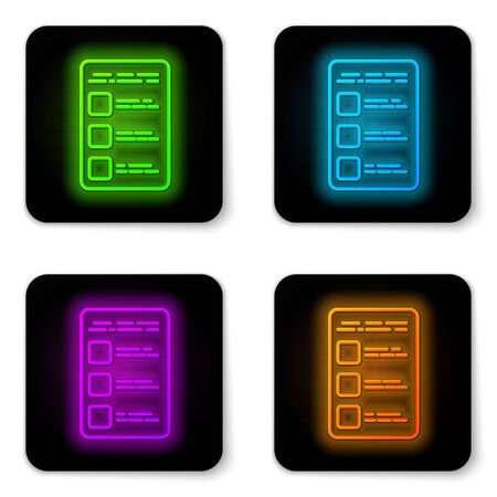 Glowing neon line Create account screen on mobile phone icon isolated on white background. Black square button. Vector Illustration