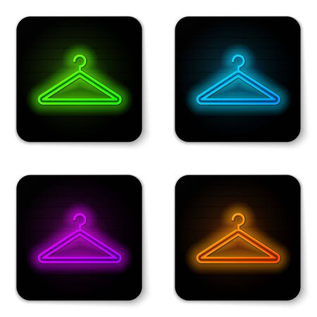 Glowing neon line Hanger wardrobe icon isolated on white background. Cloakroom icon. Clothes service symbol. Laundry hanger sign. Black square button. Vector Illustration