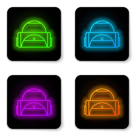 Glowing neon line Sport bag icon isolated on white background. Black square button. Vector Illustration