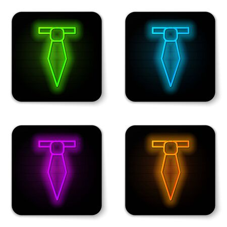Glowing neon line Tie icon isolated on white background. Necktie and neckcloth symbol. Black square button. Vector Illustration Ilustrace
