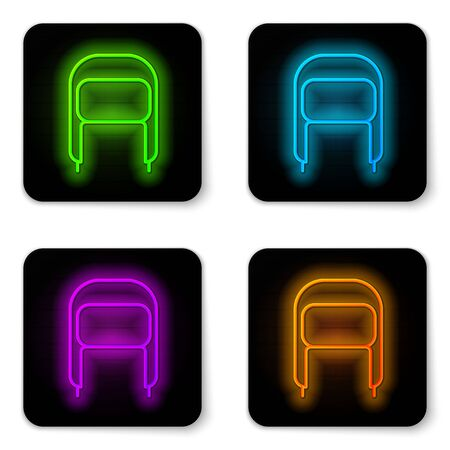 Glowing neon line Winter hat with ear flaps icon isolated on white background. Black square button. Vector Illustration
