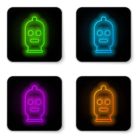 Glowing neon line Balaclava icon isolated on white background. A piece of clothing for winter sports or a mask for a criminal or a thief. Black square button. Vector Illustration Ilustrace