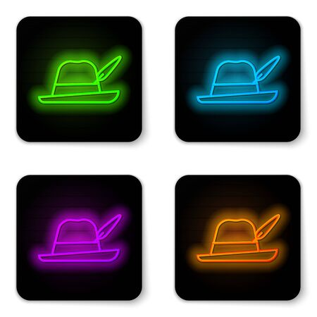 Glowing neon line Oktoberfest hat icon isolated on white background. Hunter hat with feather. German hat. Black square button. Vector Illustration