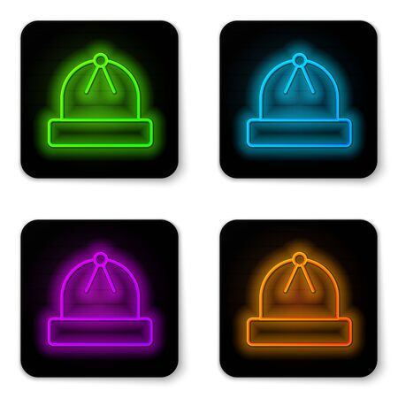 Glowing neon line Winter hat icon isolated on white background. Black square button. Vector Illustration