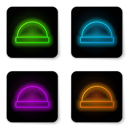 Glowing neon line Beanie hat icon isolated on white background. Black square button. Vector Illustration 일러스트