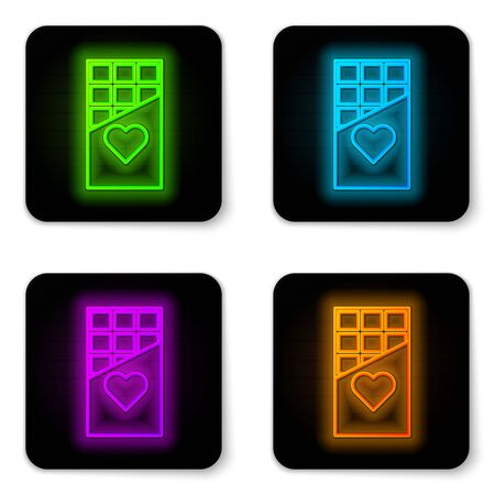 Glowing neon line Chocolate bar icon isolated on white background. Valentines day symbol. Black square button. Vector Illustration
