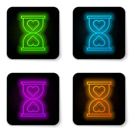 Glowing neon line Heart in the center old hourglass icon isolated on white background. Valentines day. Black square button. Vector Illustration 向量圖像