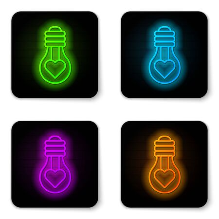 Glowing neon line Heart shape in a light bulb icon isolated on white background. Love symbol. Valentine day symbol. Black square button. Vector Illustration