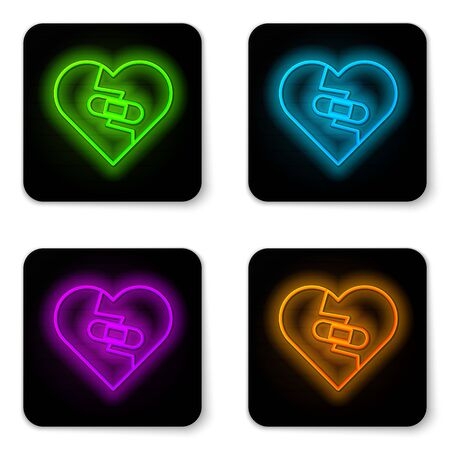 Glowing neon line Healed broken heart or divorce icon isolated on white background. Shattered and patched heart. Love symbol. Valentines day. Black square button. Vector Illustration Ilustração