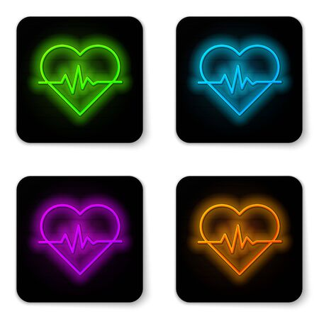 Glowing neon line Heart rate icon isolated on white background. Heartbeat sign. Heart pulse icon. Cardiogram icon. Black square button. Vector Illustration Ilustrace