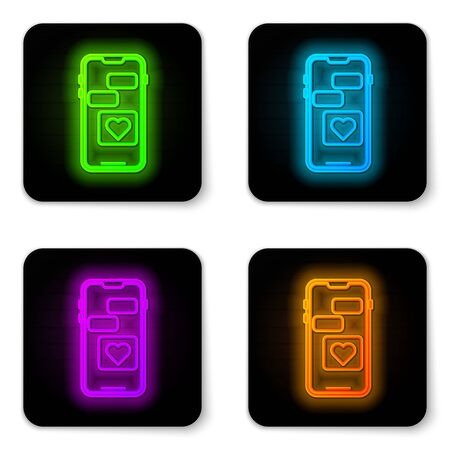 Glowing neon line Mobile phone with heart icon isolated on white background. Valentines day. Black square button. Vector Illustration Ilustrace