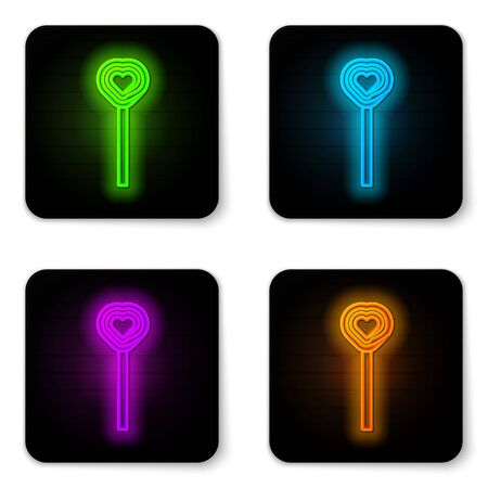 Glowing neon line Lollipop icon isolated on white background. Candy sign. Food, delicious symbol. Valentines day. Love symbol. Black square button. Vector Illustration Ilustrace