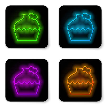 Glowing neon line Wedding cake with heart icon isolated on white background. Valentines day symbol. Black square button. Vector Illustration