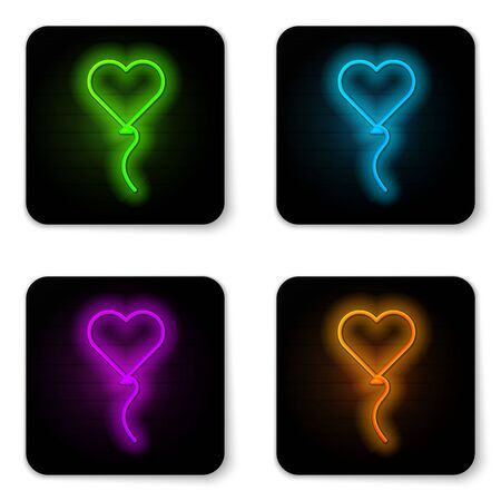 Glowing neon line Balloons in form of heart with ribbon icon isolated on white background. Valentines day symbol. Black square button. Vector Illustration