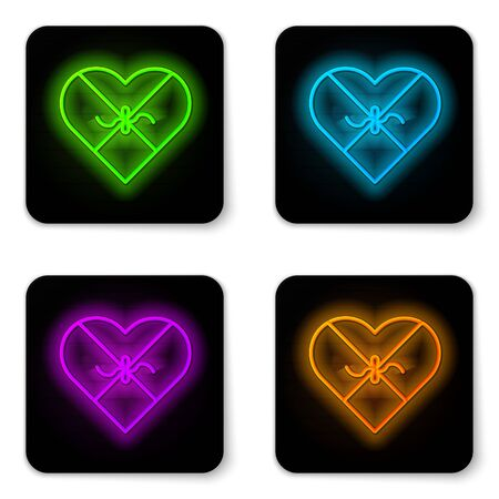 Glowing neon line Candy in heart shaped box and bow icon isolated on white background. Valentines Day. Black square button. Vector Illustration
