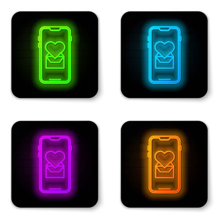 Glowing neon line Mobile phone with heart icon isolated on white background. Valentines day. Black square button. Vector Illustration Illusztráció