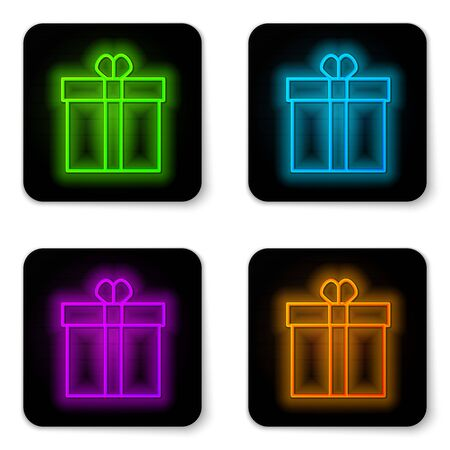 Glowing neon line Gift box and heart icon isolated on white background. Valentines day. Black square button. Vector Illustration Ilustrace