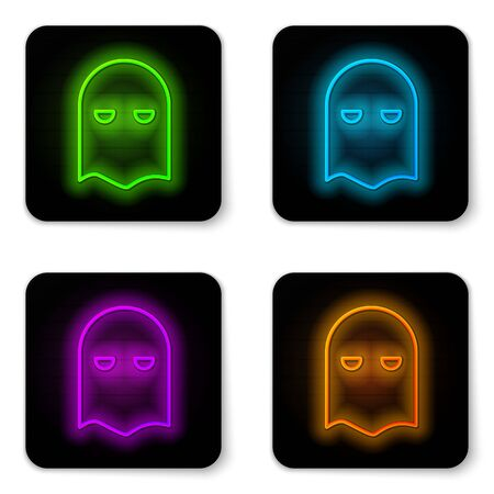 Glowing neon line Executioner mask icon isolated on white background. Hangman, torturer, executor, tormentor, butcher, headsman icon. Black square button. Vector Illustration